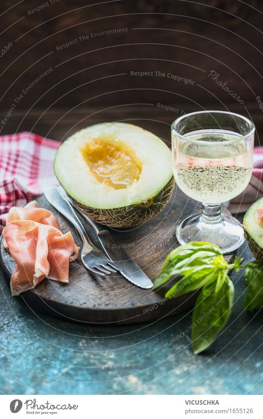 Ham and melon . Mediterranean Cuisine Food Meat Sausage Fruit Nutrition Lunch Banquet Organic produce Italian Food Beverage Wine Crockery Cutlery Style
