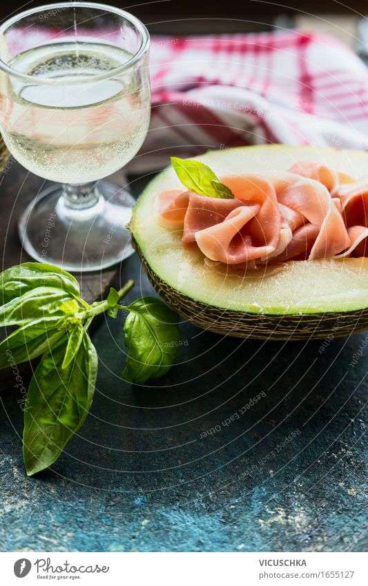 Melon with ham and glass of white wine Food Meat Fruit Herbs and spices Nutrition Lunch Buffet Brunch Banquet Organic produce Vegetarian diet Diet Italian Food