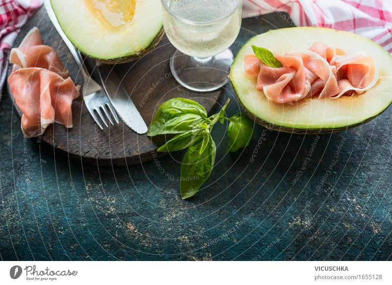 Italian cuisine, melon with Parma ham Food Meat Sausage Fruit Herbs and spices Nutrition Lunch Banquet Business lunch Picnic Organic produce Italian Food Wine