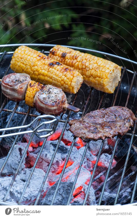 grill detail Food Meat Vegetable Organic produce Cheap Good Hot Yellow Green Barbecue (apparatus) Barbecue (event) Grill Corn cob Maize Embers Coal Fire