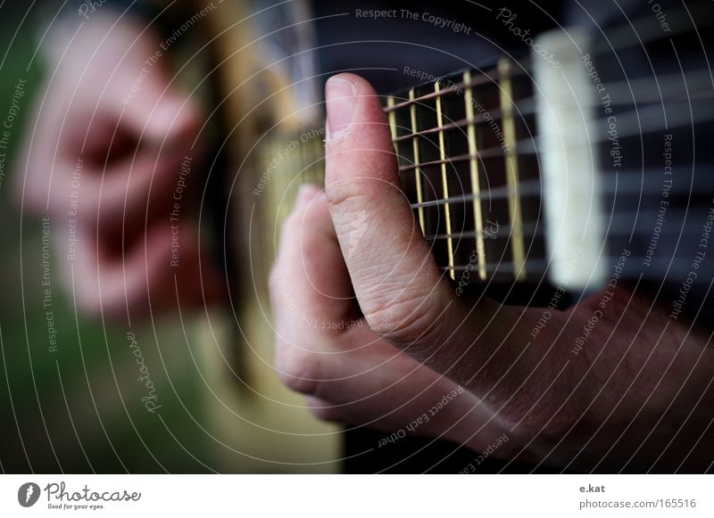 handball Guitar Guitarist Guitar position Guitar string Musician Musical instrument Play guitar Movement Fingers Colour photo Macro (Extreme close-up) Twilight