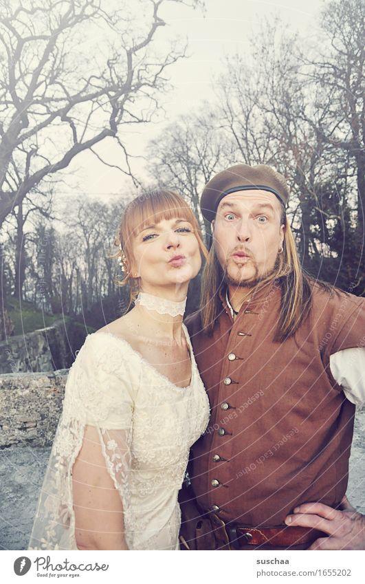 Woman Man Love Happy Couple Romance Wedding Lovers Kissing Matrimony Medieval times Wedding couple