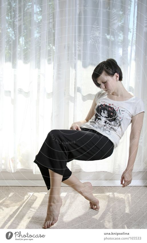 Tired I am, go to rest... Wellness Relaxation Calm Meditation Feminine Young woman Youth (Young adults) Woman Adults 18 - 30 years T-shirt Pants Brunette Flying