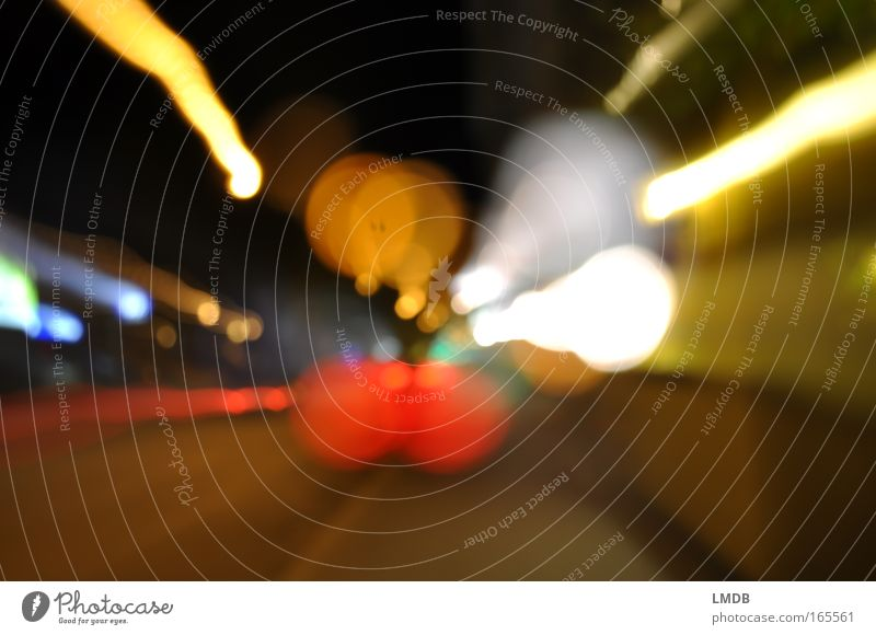 _\o°oOO/_ Colour photo Exterior shot Experimental Deserted Night Light Contrast Blur Transport Street Driving Yellow Red White Road traffic Line Point Patch