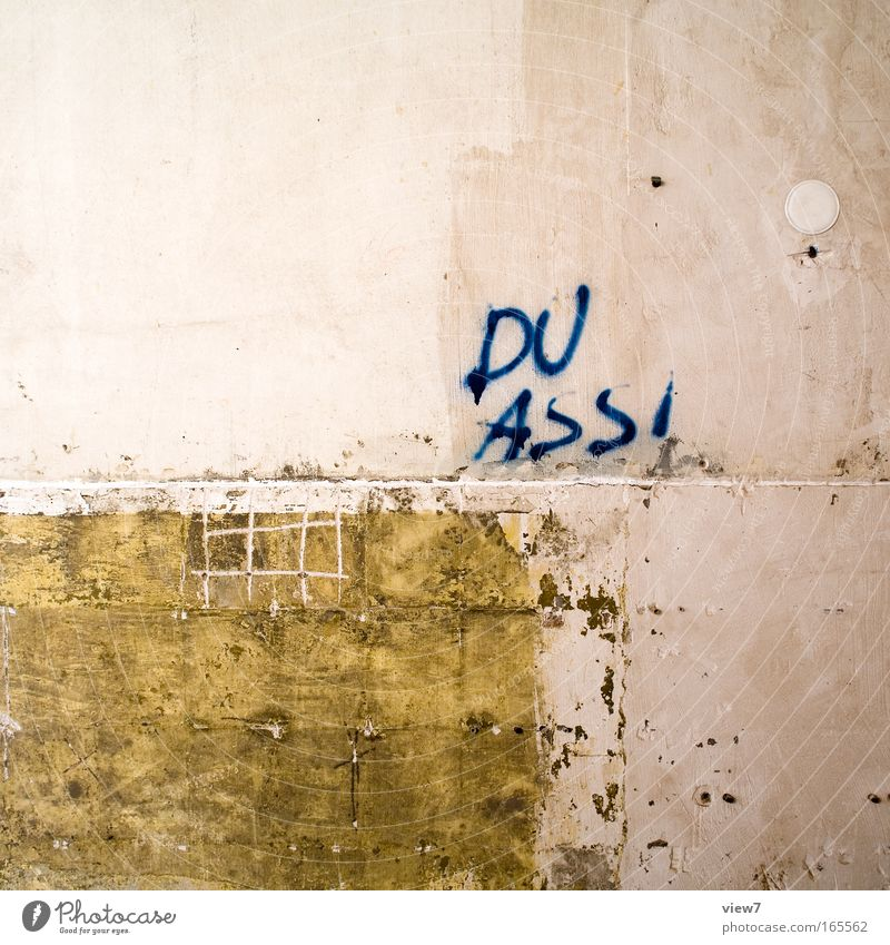 Graffiti Wall (barrier) Stone Building Flat (apartment) Dirty Characters Information Painting (action, work) Moving (to change residence) Anger Stupid Plaster Redecorate Aggression First