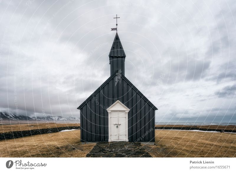 Black church of Budir in Iceland Life Vacation & Travel Adventure Island Mountain Environment Nature Landscape Earth Spring Winter Climate Climate change