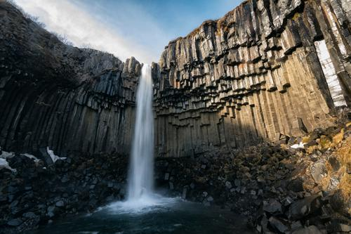 Svartifoss Sky Nature Vacation & Travel Beautiful Water White Landscape Relaxation Calm Mountain Environment Life Natural Earth Rock Dream