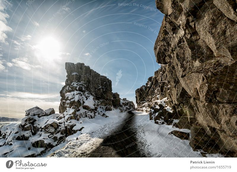 Pingvellir Nature Vacation & Travel Blue Sun Landscape Relaxation Calm Far-off places Winter Mountain Environment Warmth Life Lanes & trails Snow Freedom