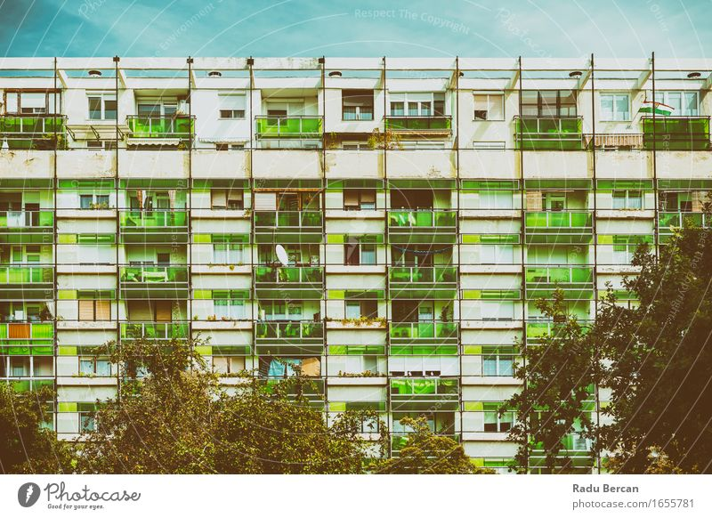 Communist Building Apartments City Blue Green House (Residential Structure) Architecture Facade Europe Manmade structures Apartment Building Turquoise Downtown
