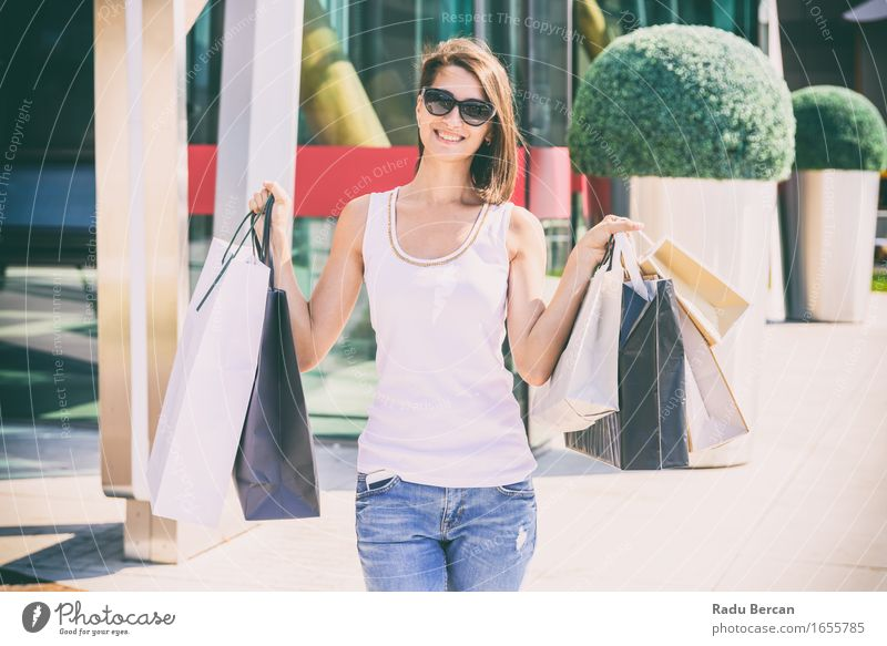 Happy Young Woman Holding Shopping Bags Lifestyle Luxury Elegant Style Joy Vacation & Travel Tourism Summer Summer vacation Human being Feminine Young woman