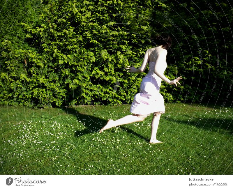 I hab´s in a hurry Colour photo Exterior shot Copy Space left Day Shadow Sunlight Full-length Rear view Life Freedom Summer Garden Feminine Young woman