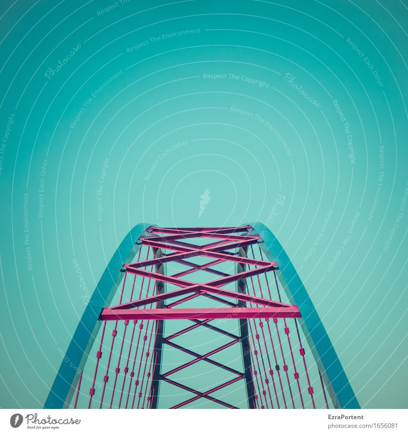 aspiration Technology Sky Cloudless sky Bridge Architecture Traffic infrastructure Metal Steel Line Stripe Esthetic Blue Red Power Trust Fear of heights Stress