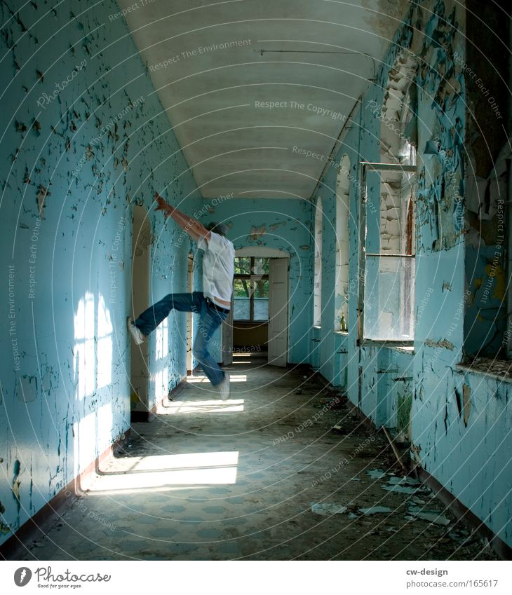 Get on the ceiling, Colour photo Multicoloured Interior shot Copy Space top Copy Space bottom Day Light Shadow Central perspective Full-length Style Human being