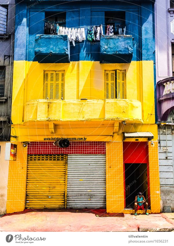 Home Sweet Home 1 Human being Sit Cellphone Blue Yellow House (Residential Structure) Laundry Clothesline Window Store premises Closed Balcony Brazil São Paulo