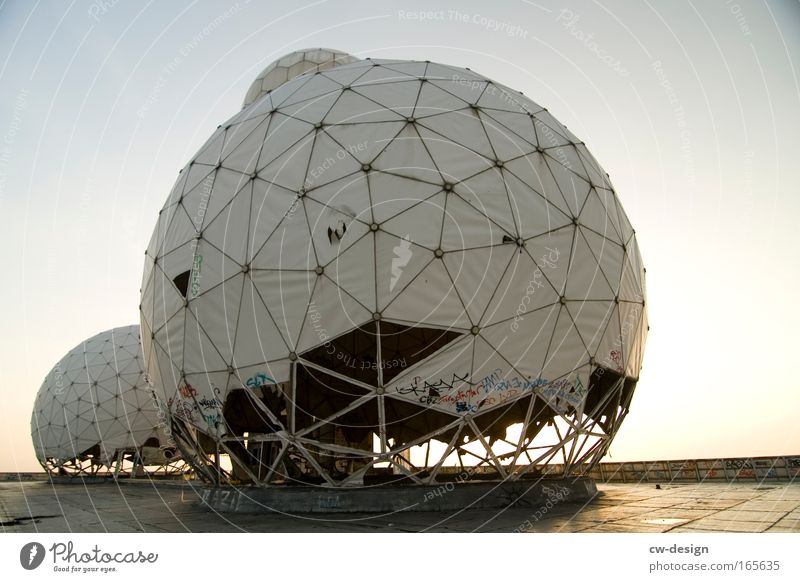 ECHELON Colour photo Exterior shot Day Back-light Worm's-eye view Outskirts Deserted Ruin Observatory Manmade structures Architecture Satellite dish Landmark