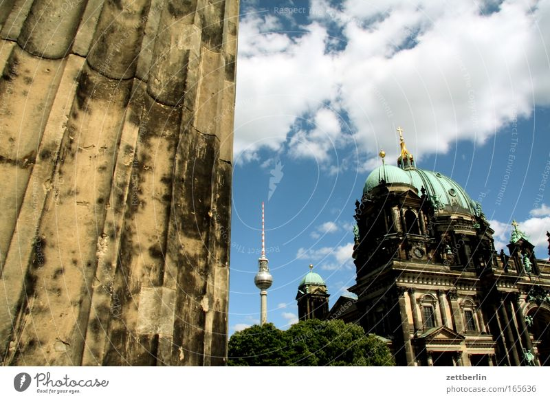 Sky City Summer Clouds Berlin Religion and faith Architecture Church Culture Downtown Column Museum Dome Berlin TV Tower Capital city Alexanderplatz