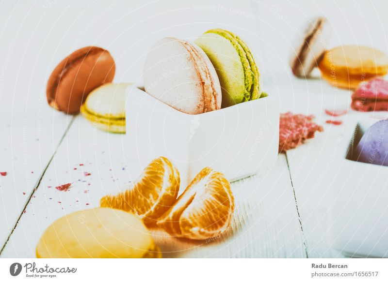 French Macaroons With Tangerine Slices On Wood Table Food Fruit Orange Dessert Candy Macaron Nutrition Eating Breakfast Diet Feeding Fresh Healthy Green Pink