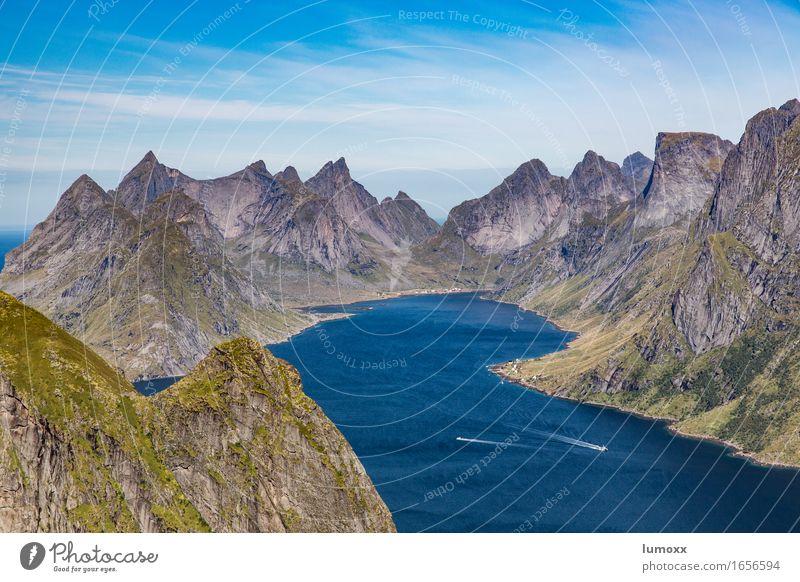 Nature Blue Green Summer Water Ocean Landscape Mountain Gray Rock Watercraft Peak Bay Scandinavia Norway Fjord