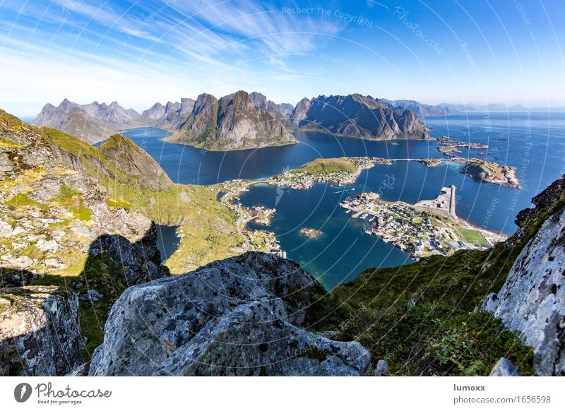 nordic view Environment Nature Landscape Summer Beautiful weather Rock Mountain Coast Bay Fjord Ocean Island Harbour Blue Gray Green Vacation & Travel Hiking