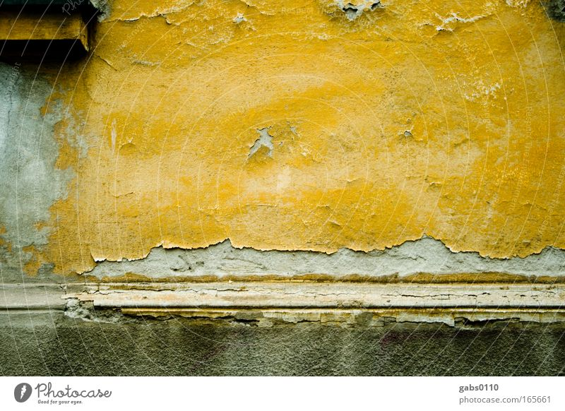 Old House (Residential Structure) Yellow Wall (building) Gray Wall (barrier) Sadness Art Brown Fear Gold Dirty Facade Trashy Decline Plaster