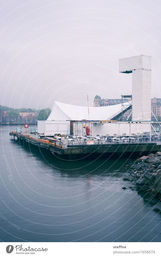 exhaust Oslo Feasts & Celebrations Chair partyed Tent Water Sea promenade Norway Rain Bad weather Sadness Subdued colour Exterior shot Copy Space top