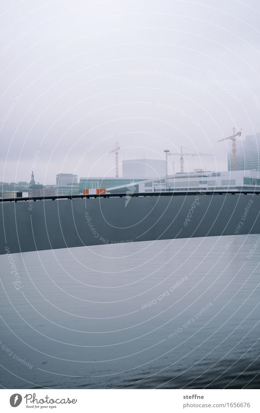 multi-layered Water Oslo Norway Town Gloomy Rain Cold Crane Build Colour photo Subdued colour Exterior shot Deserted Copy Space top Copy Space bottom