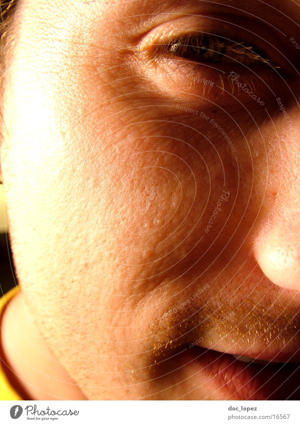 Human being Man Sun Face Eyes Mouth Skin Nose Friendliness Partially visible Portrait photograph Pore Impish