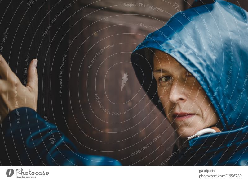 AST 9 | last rainmai Human being Feminine Young woman Youth (Young adults) Woman Adults Life 1 Summer Bad weather Rain Blue Brown Cold Eerie Raincoat Door