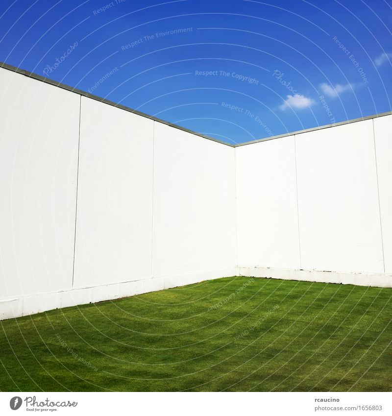 Green grass surrounded by a white wall, blue sky at the top. Sky Blue White Loneliness Wall (building) Meadow Grass Garden Claustrophobia Manmade structures
