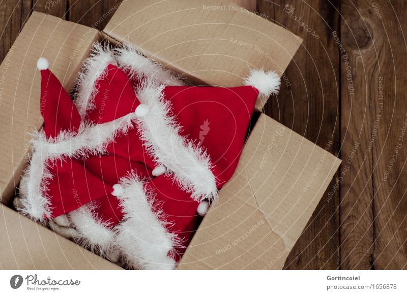 Santa Claus Box Decoration Kitsch Odds and ends Red White Cardboard Santa Claus hat Christmas & Advent Christmas decoration Colour photo Subdued colour
