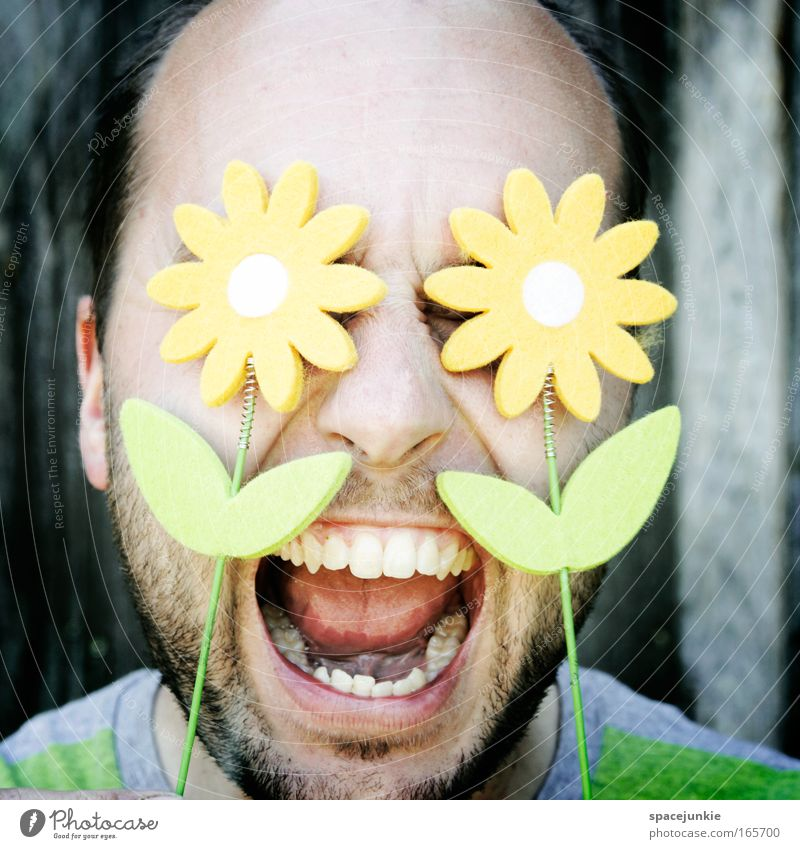 Human being Nature Plant Summer Flower Face Head Blossom Spring Funny Threat Facial hair Scream Punk Aggression Short-haired