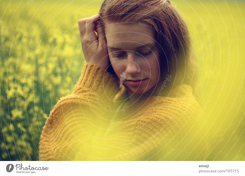 a dream in yellow Colour photo Multicoloured Exterior shot Day Blur Long shot Portrait photograph Upper body Front view Downward Closed eyes Feminine