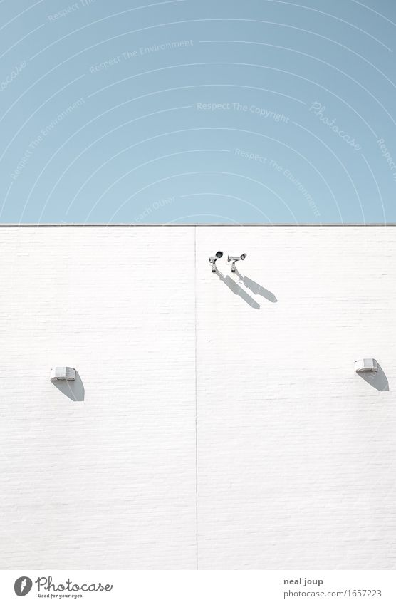 Blue White Loneliness Wall (building) Wall (barrier) Facade Bright Fear Modern Communicate Observe Curiosity Pure Testing & Control Surrealism Video camera