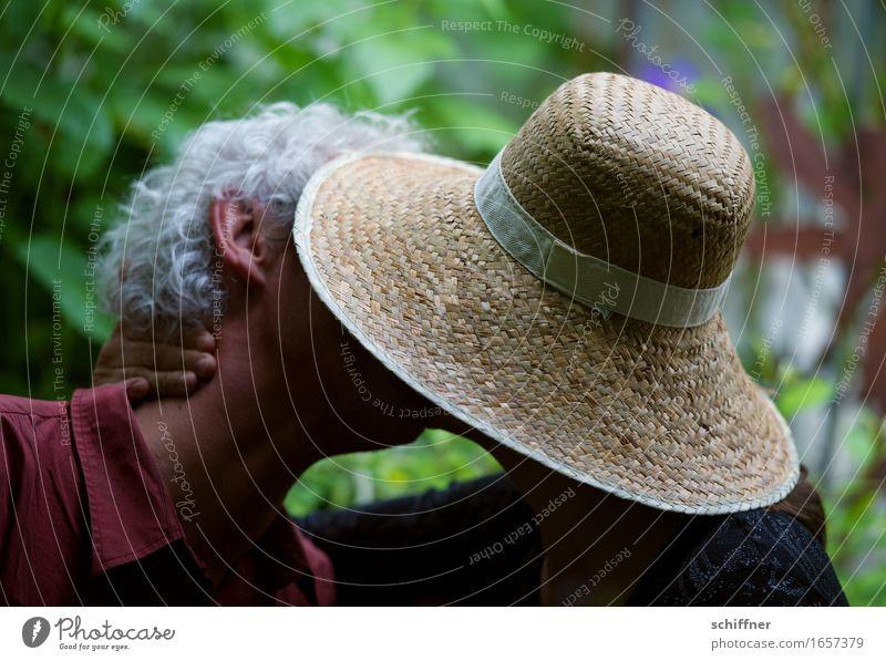 Human being Woman Man Adults Life Love Head Couple 45 - 60 years Lovers Hat Kissing Partner Grasp Door handle Love affair