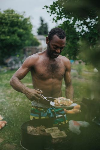 ° Meat Nutrition Joy Leisure and hobbies Barbecue (event) Summer Summer vacation Garden Masculine Man Adults Friendship Life 1 Human being 30 - 45 years