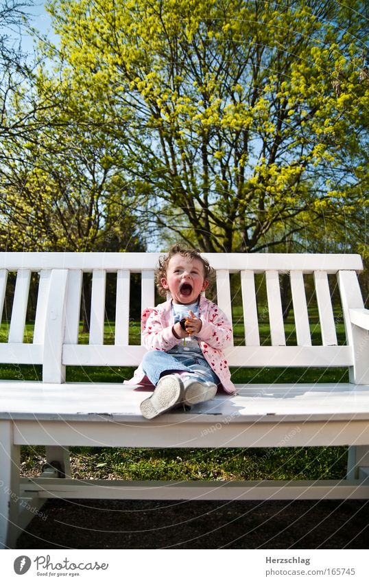 Spring is in the air Multicoloured Copy Space top Wide angle Looking into the camera Happy Toddler Girl Blossoming Smiling Laughter Illuminate Authentic