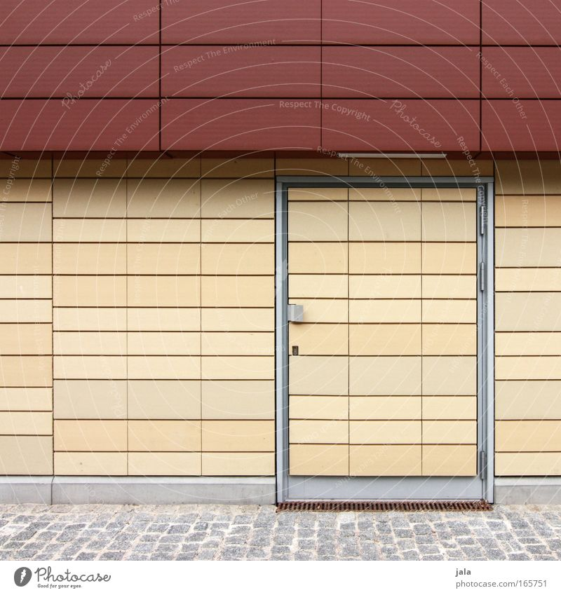 Red Wall (building) Architecture Building Stone Wall (barrier) Door Facade Clean Tile Paving stone Beige