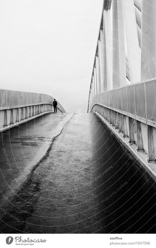 human vs. artefact 1 Human being Bad weather Fog Rain Street Bridge Wet Sadness Dark Loneliness Oslo Black & white photo Exterior shot Copy Space top