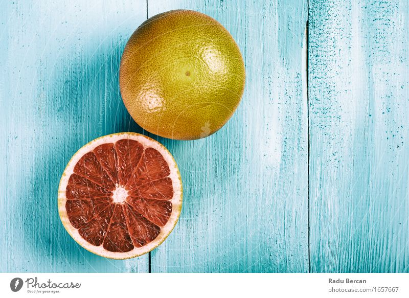 Fresh Red Oranges On Wood Table Nature Blue Summer Colour Healthy Eating Food Fruit Nutrition Simple