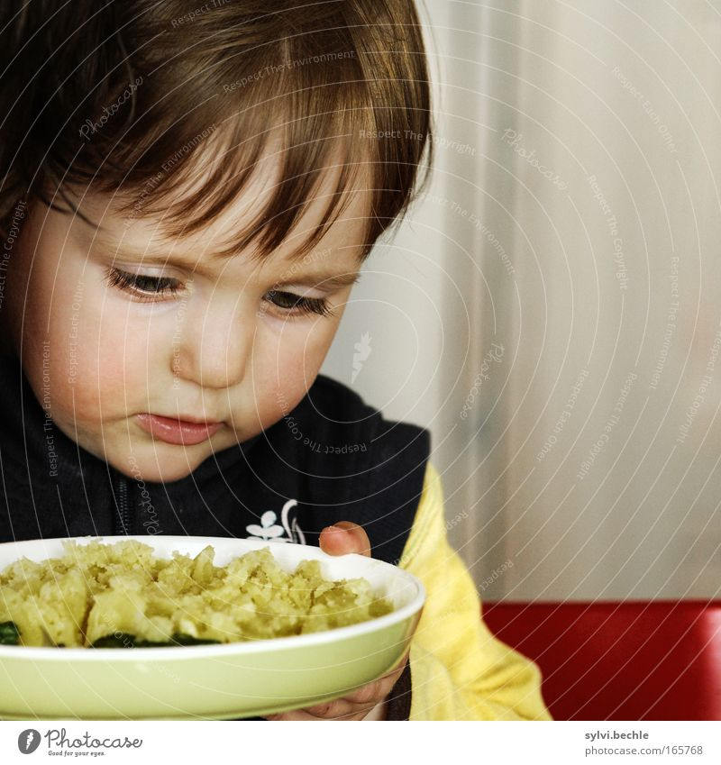Child Beautiful Red Face Calm Nutrition Yellow Head Mouth Eating Fingers Hot To hold on Concentrate Vegetable