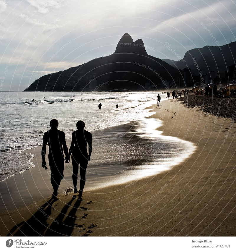 Walking on the Beach Human being Water Beautiful Ocean Summer Beach Vacation & Travel Love Relaxation Couple Sand Landscape Contentment Moody Together Coast