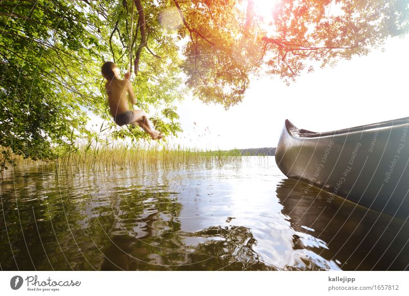 mogli Happy Playing Vacation & Travel Tourism Trip Adventure Freedom Summer Summer vacation Sun Human being Child Boy (child) Body Skin 1 Rowboat