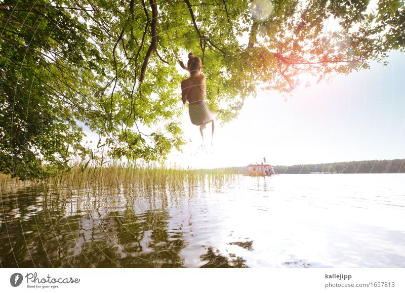 Human being Child Nature Vacation & Travel Summer Water Sun Tree Leaf Girl Environment Coast Feminine Playing Swimming & Bathing Tourism