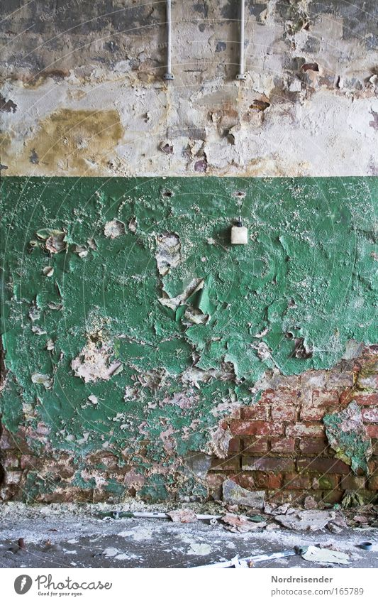 Texture patina on an old wall Deserted Lifestyle already Redecorate Arrange Interior design Workplace Factory Career Success Unemployment Environment