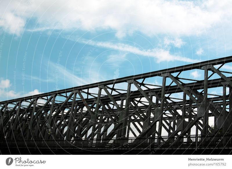Black to Blue Colour photo Deserted Nature Air Sky Clouds Bridge Architecture Metal Sharp-edged Simple Firm Strong Gray White Power