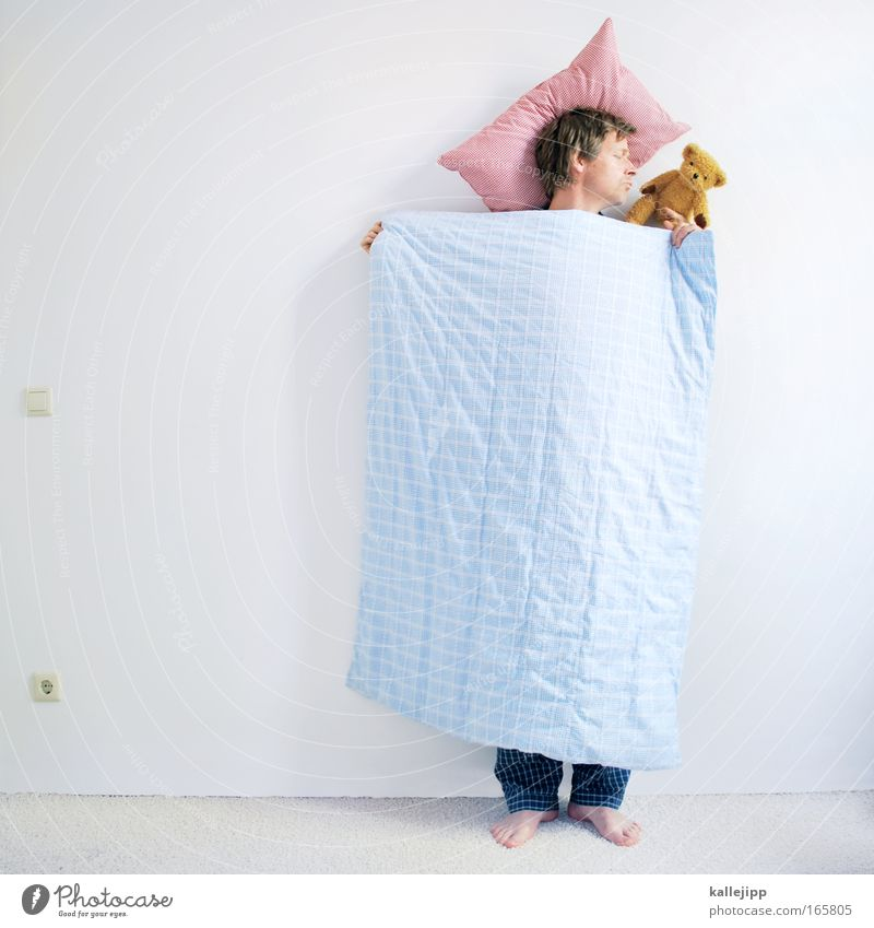 sigmunds friend Closed eyes Well-being Contentment Relaxation Calm Bedroom Human being Man Adults 1 30 - 45 years Sleep Dream Crazy Teddy bear Duvet Pillow
