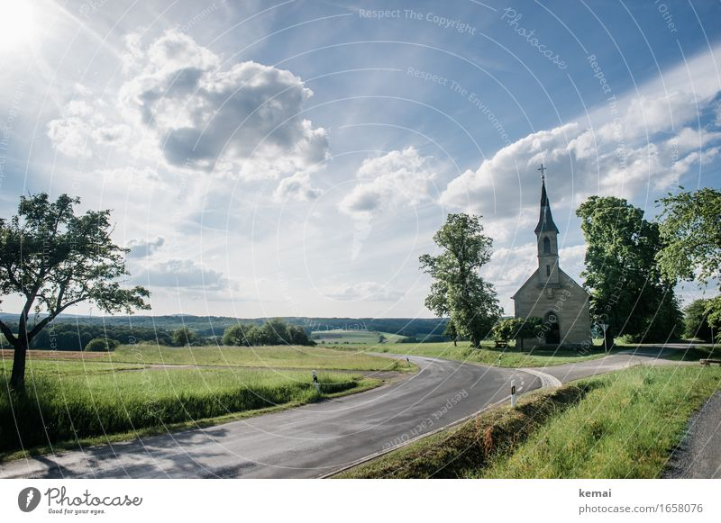 AST9 | The church at the bend of the road Environment Nature Landscape Sky Clouds Sunlight Summer Beautiful weather Tree Meadow Field Church Street Crossroads