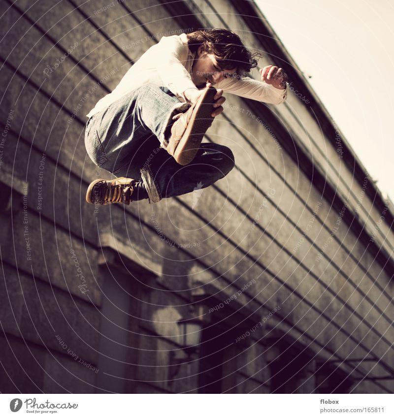 Man Youth (Young adults) Jump Dangerous Cool (slang) Threat Profession Skateboarding Brave Cigarette Freak Salto Trick Thrill Funsport Stunt