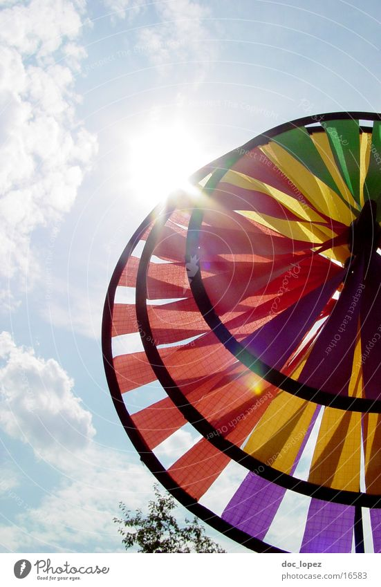 Sky Sun Clouds Bright Perspective Round Toys Things Dazzle Pinwheel Partially visible Lens flare