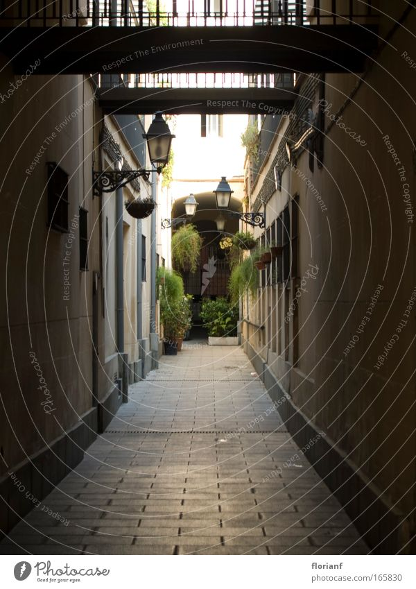 An alley in Barcelona Colour photo Exterior shot Shallow depth of field Wide angle Spain Europe Old town Deserted Facade Lantern Interior courtyard Town